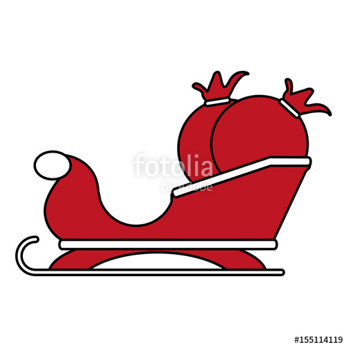 500x500 Color Silhouette Image Of Santa Claus Sleigh With Bags Of Gifts
