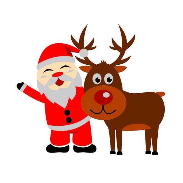 600x600 Christmas Santa Claus With Reindeer Cuttable Design