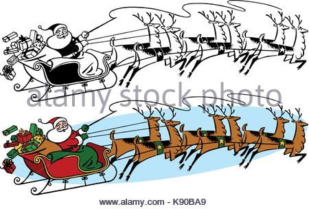 450x304 Christmas Sleigh With Wrapped Gifts In An Outside Display Stock