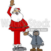 170x170 Clipart Illustration Of Santa Watching The Cost Rise On The Gas