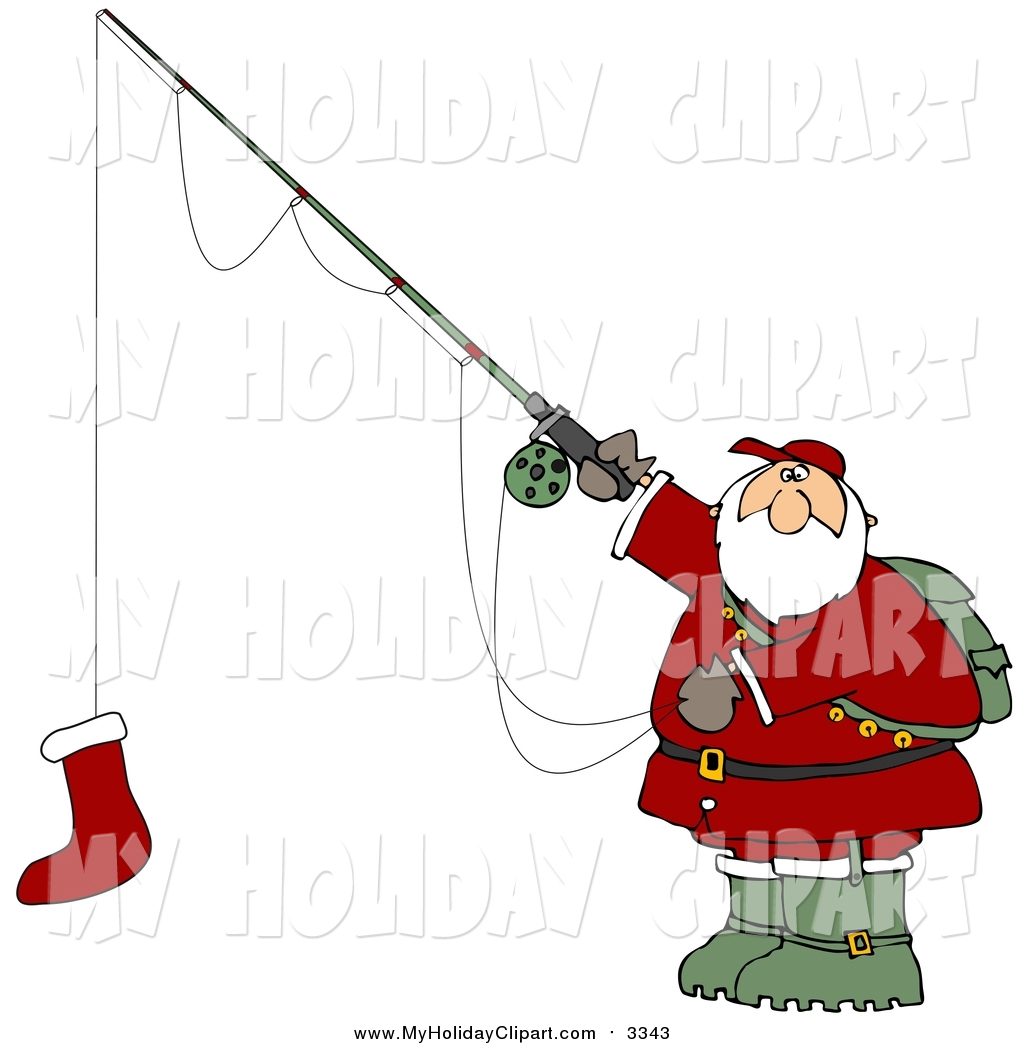 1024x1044 Cliprt Of Santa Claus Holding Red Christmas Stocking On