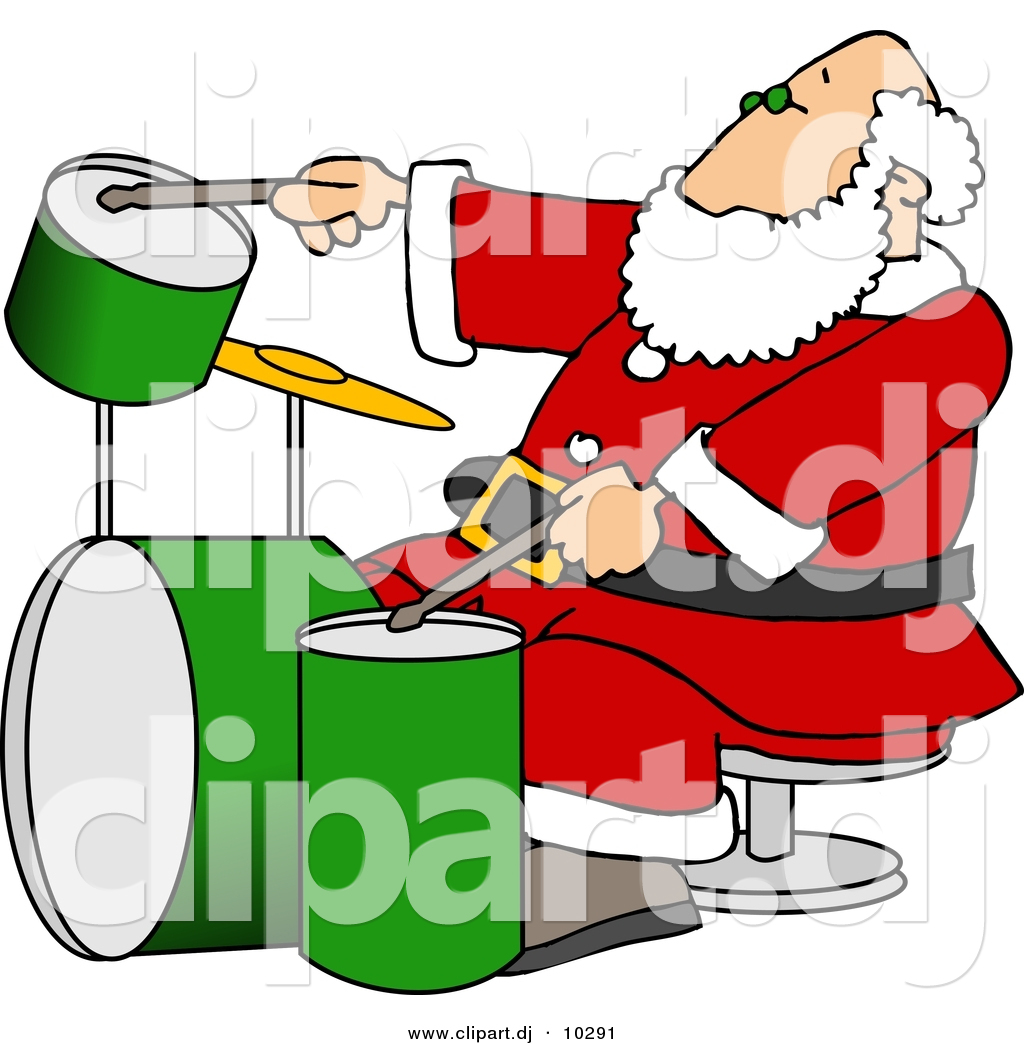 1024x1044 Clipart Of A Cartoon Santa Claus Playing Drums By Djart