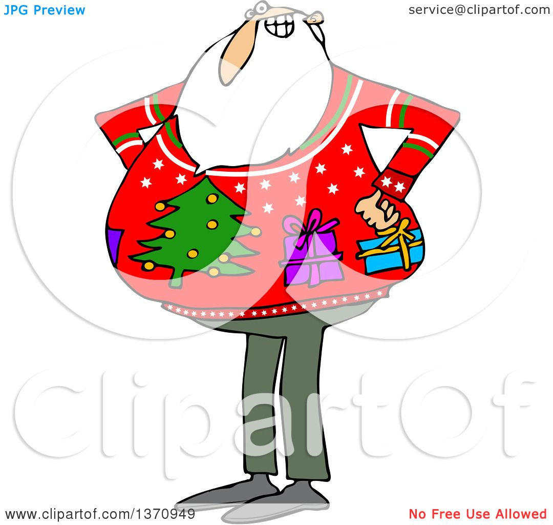1080x1024 Clipart Of A Cartoon Santa Claus Wearing An Ugly Christmas Sweater