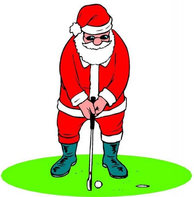 631x640 Golfing Santa Clipart
