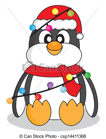 360x470 Penguin With Christmas Lights Penguin Dressed As Santa Clip