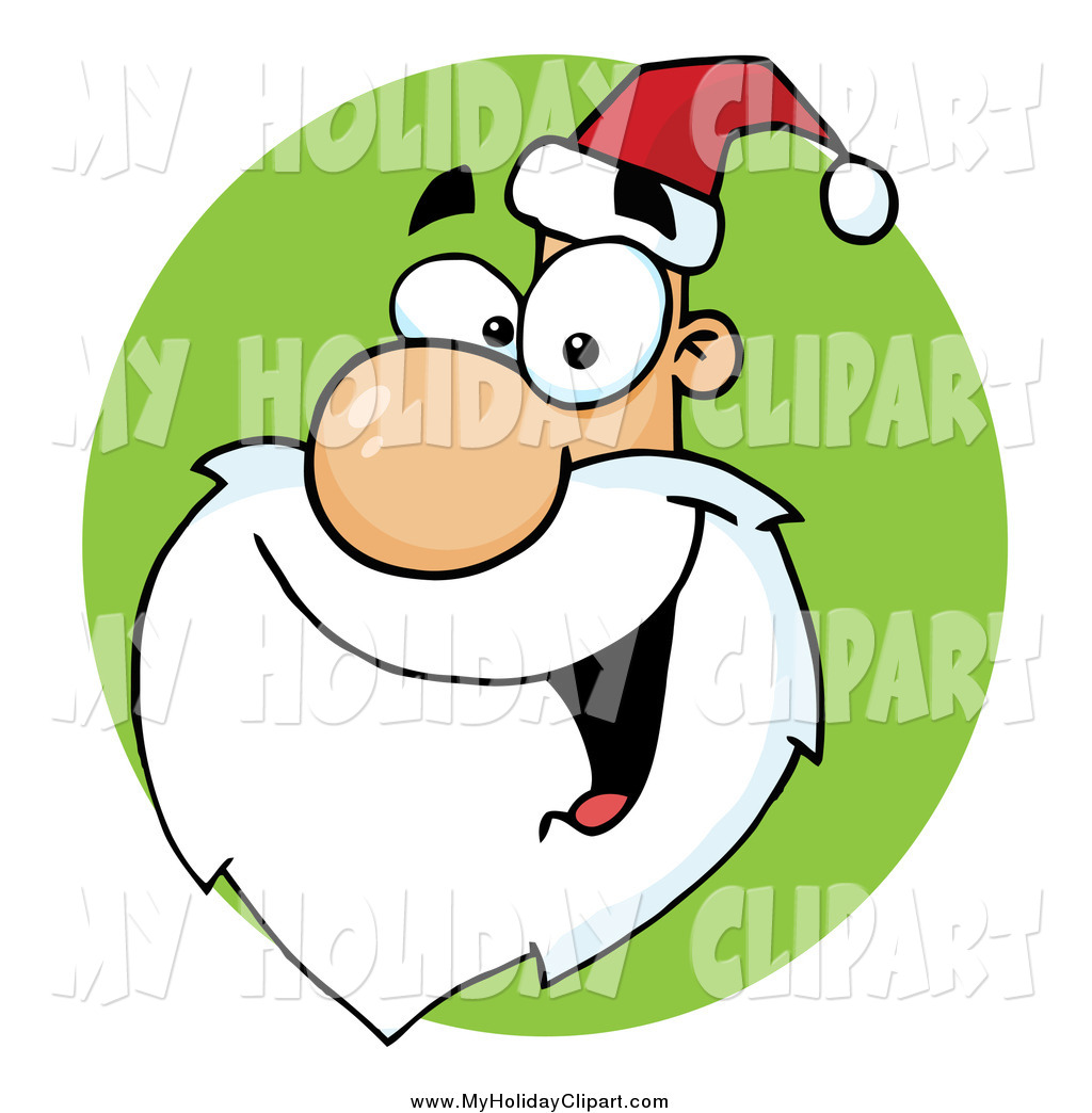 1024x1044 Clip Art Of A Happy Santa Face On A Green Circle By Hit Toon