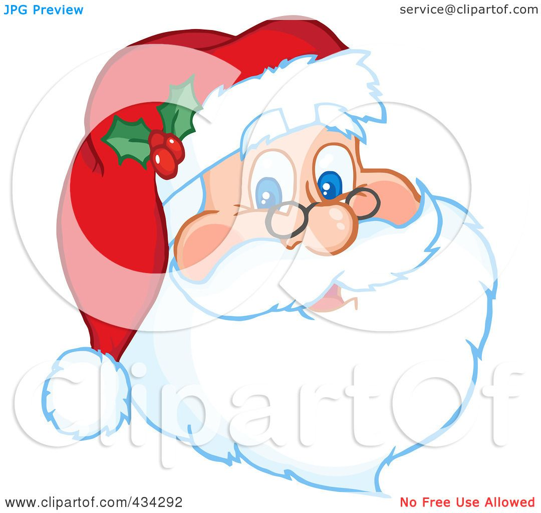 1080x1024 Royalty Free (Rf) Clipart Illustration Of A Santa Face By Hit Toon
