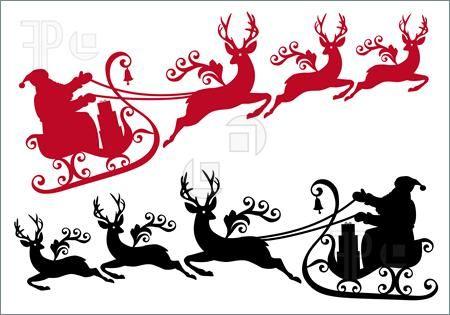 450x315 Reindeer Clipart Santa With Sleigh And Reindeer, Vector