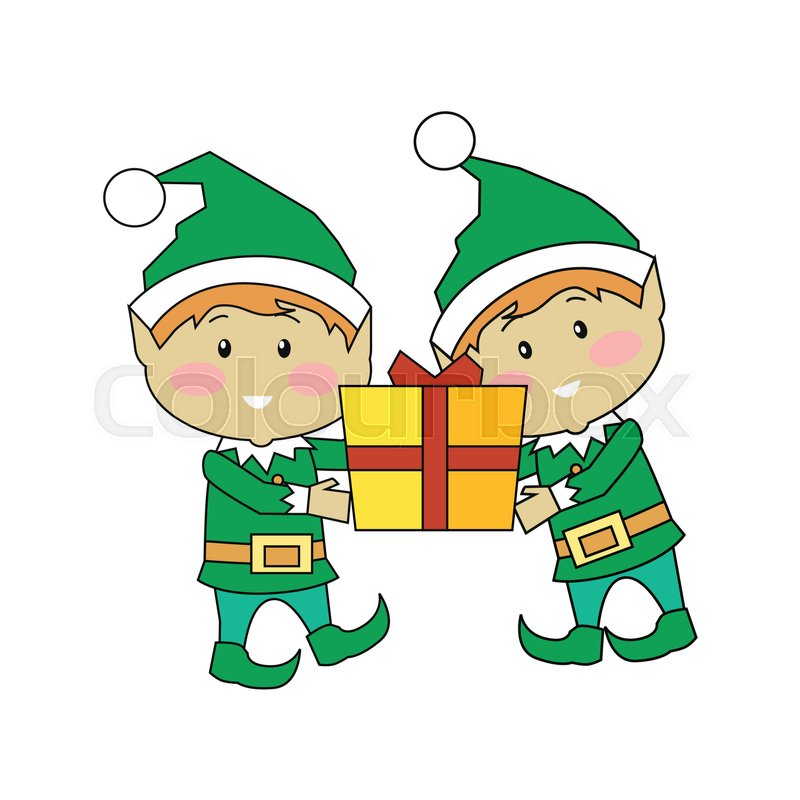 800x800 Christmas Elves Holding Gift Box. Two Xmas Cartoon Characters