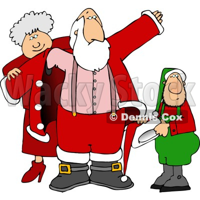 400x400 Mrs. Claus Amp Elf Helping Santa Get Dressed For Christmas Clipart