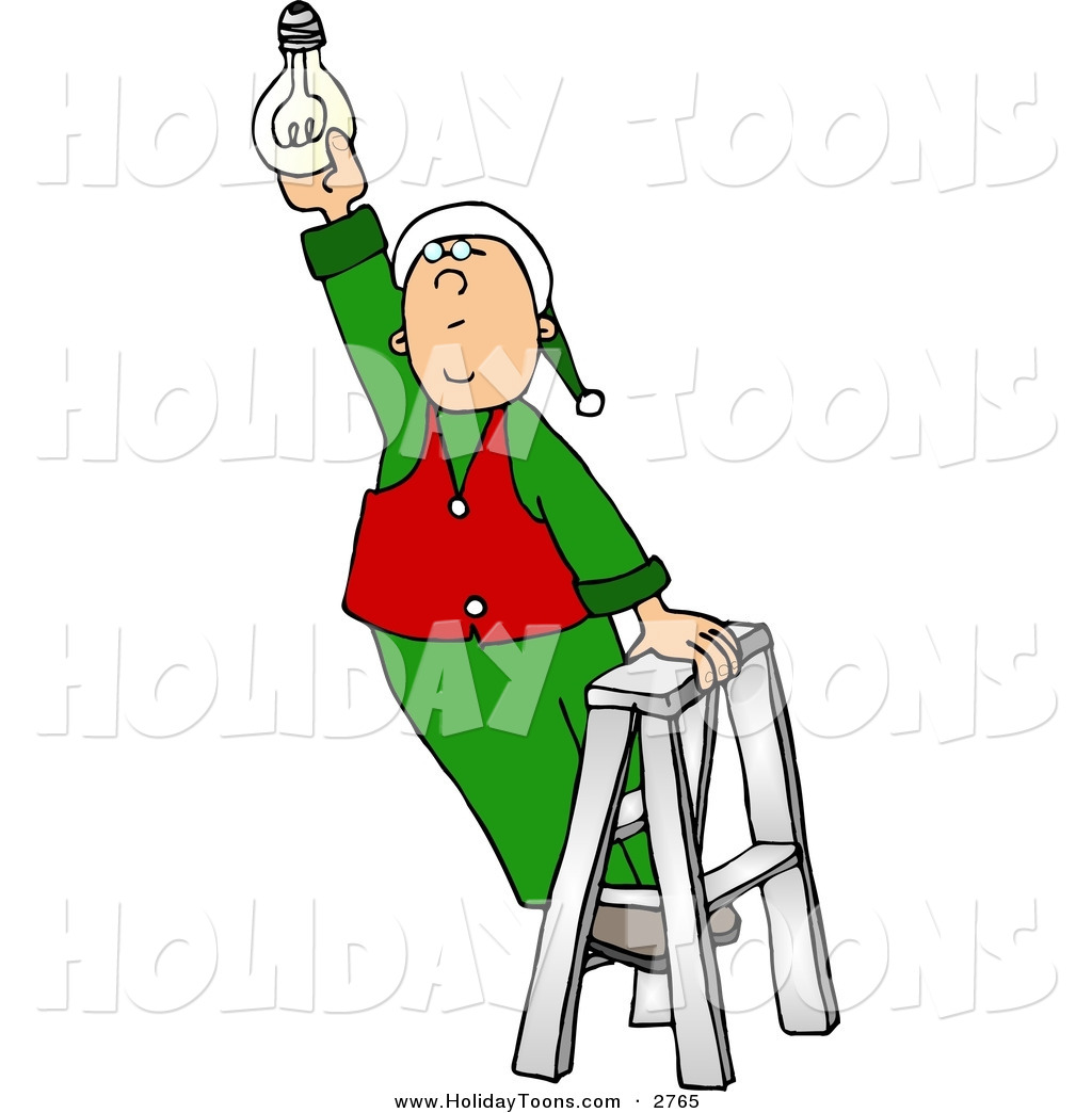 1024x1044 Royalty Free Holiday Clipart Of A Helpful Santa's Elf Screwing