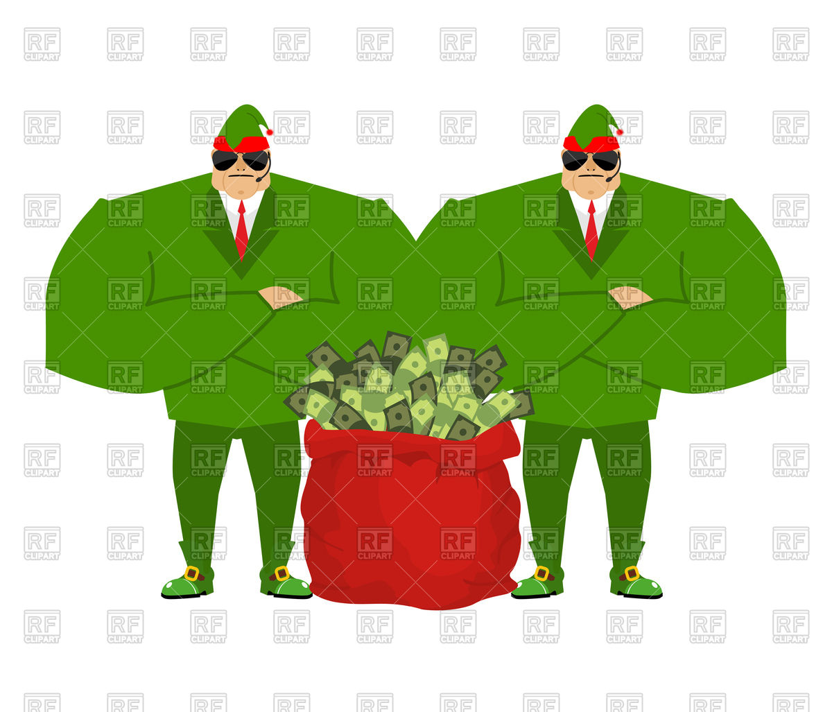 1200x1027 Santa's Elves And Red Bag Full Of Money Royalty Free Vector Clip