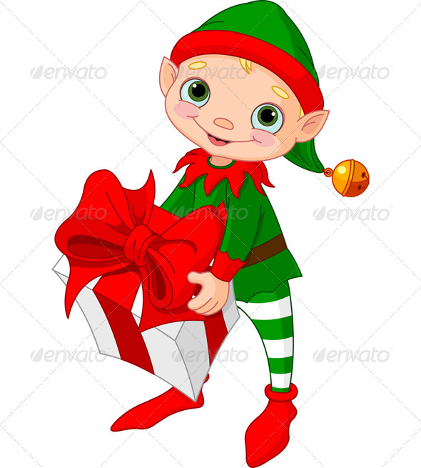 590x655 Christmas Elves Clipart Christmas Elf With Gift Christmas Items