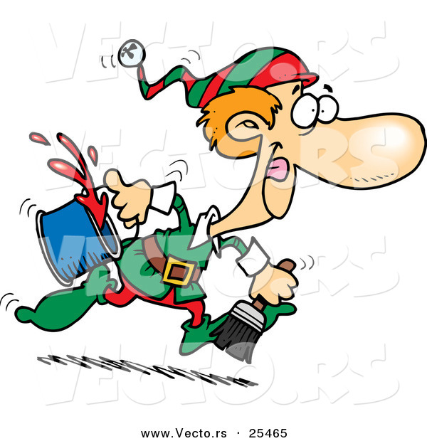 600x620 Cartoon Vector Of A Santa's Elf Running To Paint A Wall Red