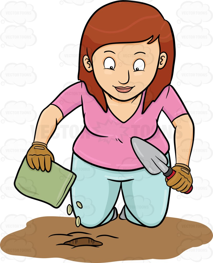 830x1024 A Woman Planting Seeds Cartoon Clipart Vector Toons