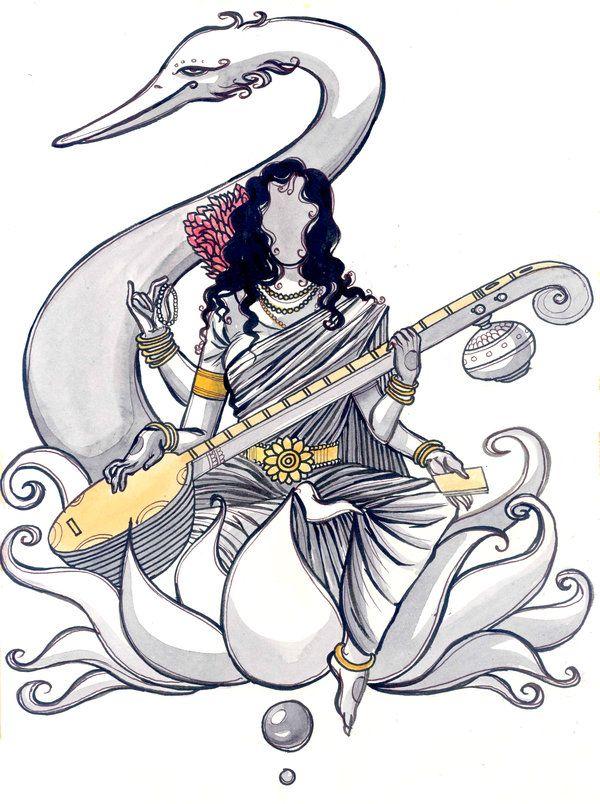 600x804 Indian Gods Saraswati By ~tripathisiddhartha The Divine
