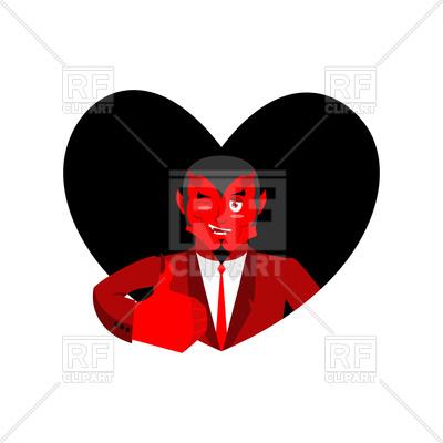400x400 Love Of Satan. Devil And Black Heart. Royalty Free Vector Clip Art