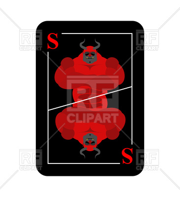 366x400 Playing Card With Red Satan Symbol Royalty Free Vector Clip Art