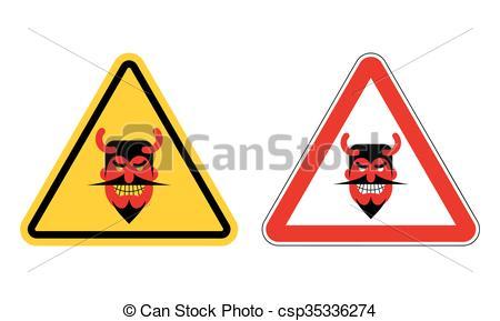 450x289 Warning Sign Attention Devil. Hazard Yellow Sign Satan . Vectors