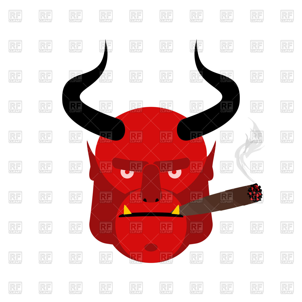 1200x1200 Head Satan With Cigar, Aggressive Devil With Horns Royalty Free