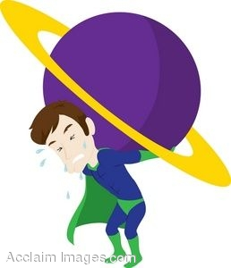 258x300 Clip Art Of A Superhero Holding A Planet Up