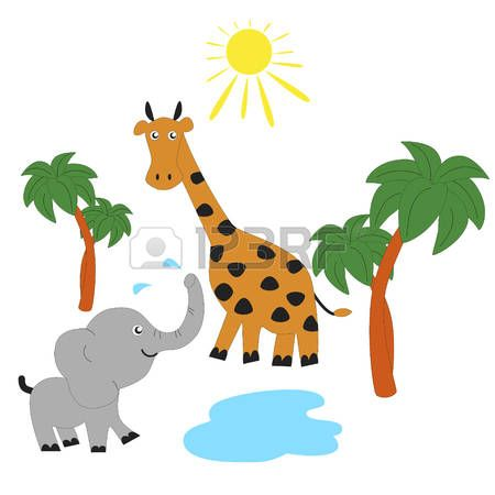 450x450 Elephant And Giraffe Sunbathing In The Savannah. Vector Clip Art