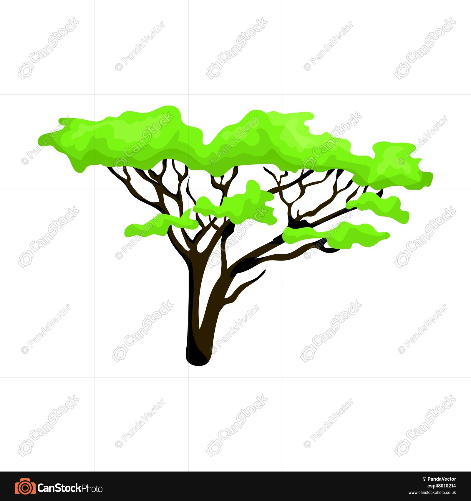1600x1700 Tree In The Savannah.african Safari Single Icon In Cartoon