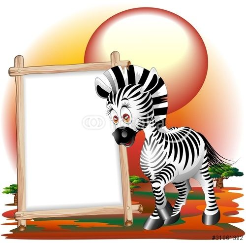 500x493 Vector Zebra Cartoon Con Pannello Zebra Savannah Background