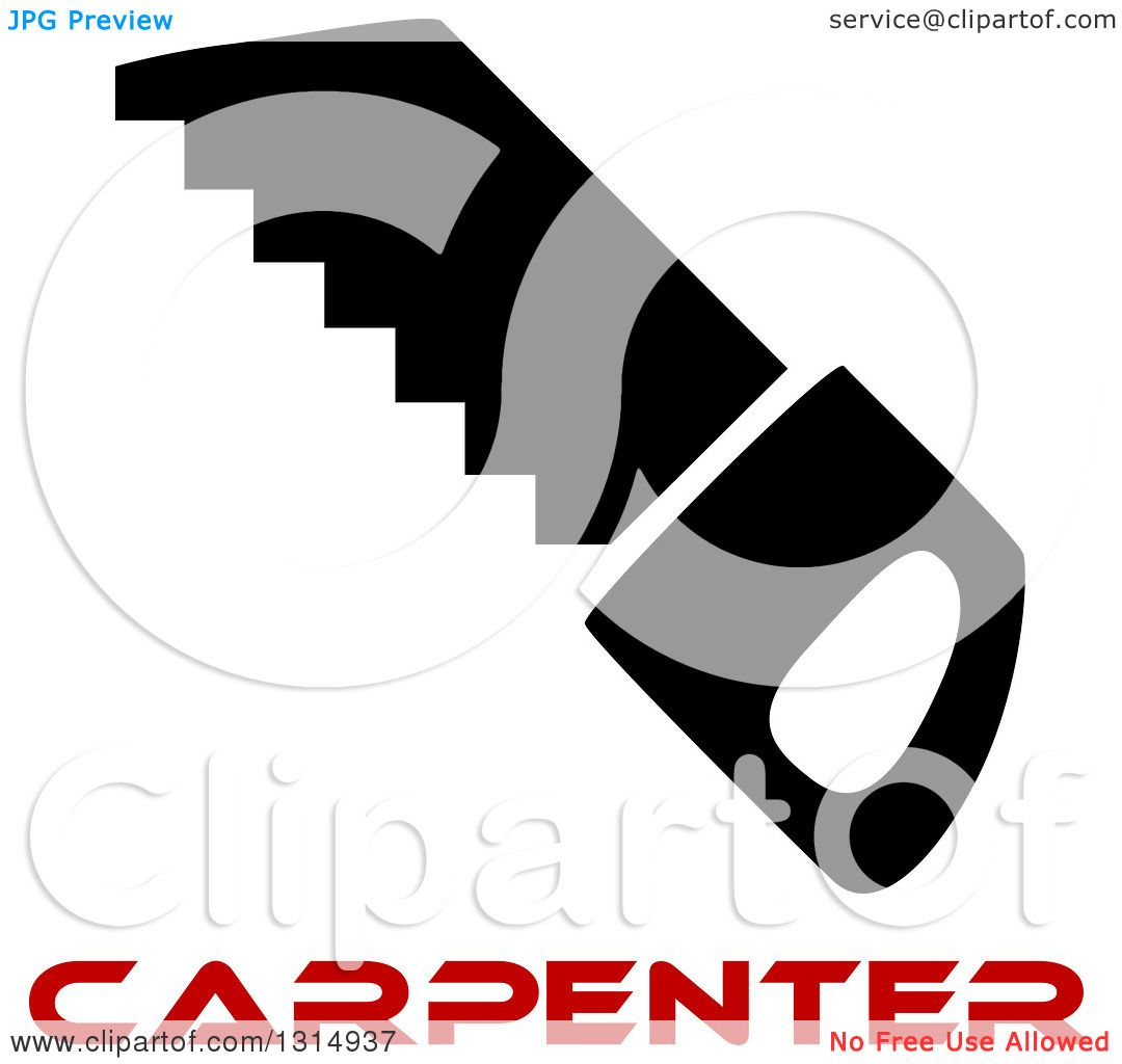 1080x1024 Clipart Of A Black Saw And Red Carpenter Text
