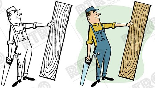 504x286 A Carpenter With A Saw Holding Up A Piece Of Raw Wood Vintage