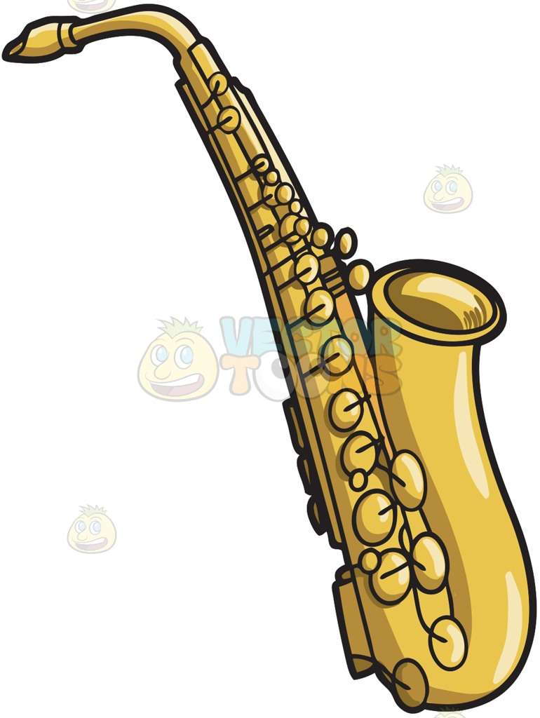770x1024 A Musical Instrument Called The Saxophone Cartoon Clipart Vector
