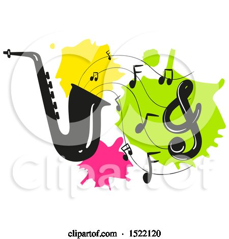 450x470 Clipart Of A Silhouetted Saxophone And Music Notes