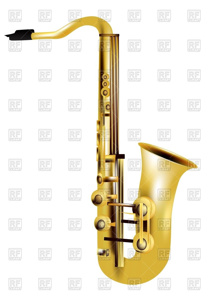 849x1200 Alto Saxophone Isolated On White Background Royalty Free Vector