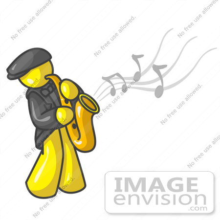 450x450 Clip Art Graphic Of A Yellow Guy Character Playing A Saxophone