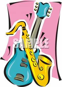 214x300 Clip Art Image A Saxophone And An Electric Guitar