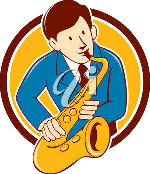 302x350 Clipart Illustration Of A Man Playing Saxophone
