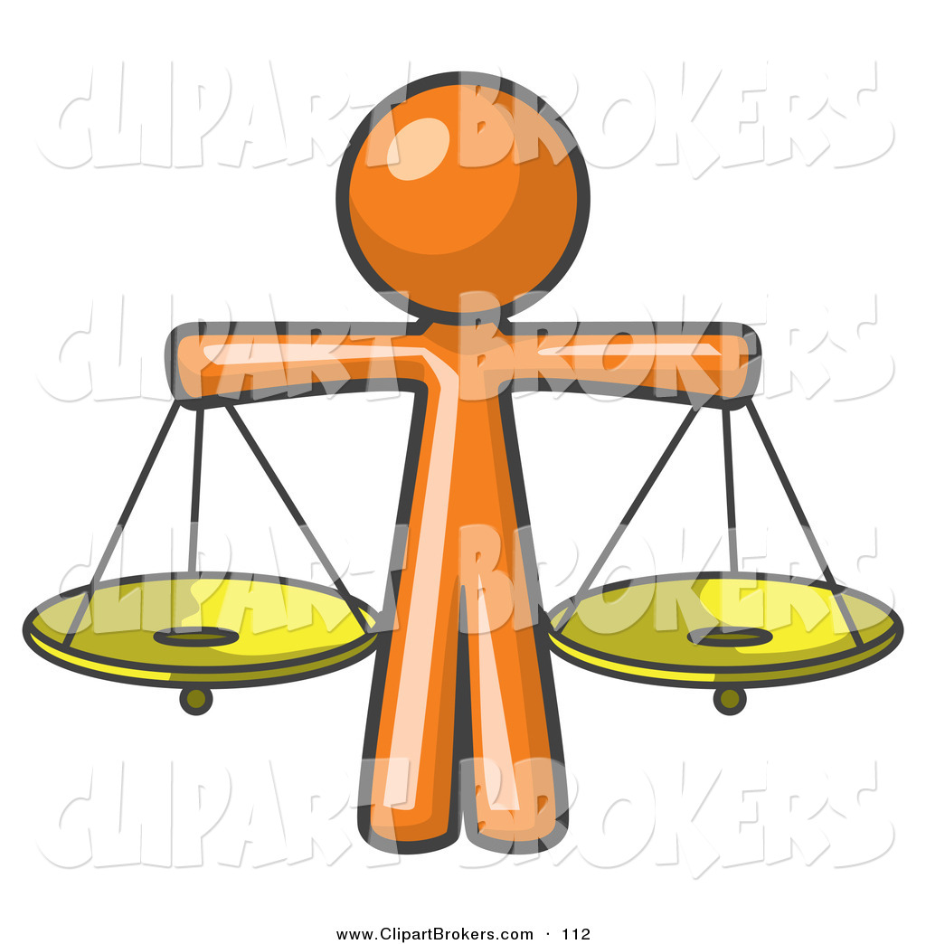 1024x1044 Clip Art Of A Orange Man Scales Of Justice With Two Golden Scales
