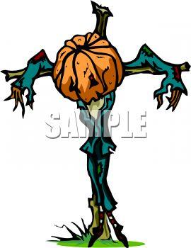 270x350 Skinny, Sad Scarecrow With A Pumpkin Head