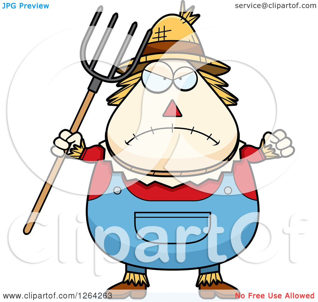 1080x1024 Clipart Of A Mad Cartoon Chubby Scarecrow Holding Up A Fist