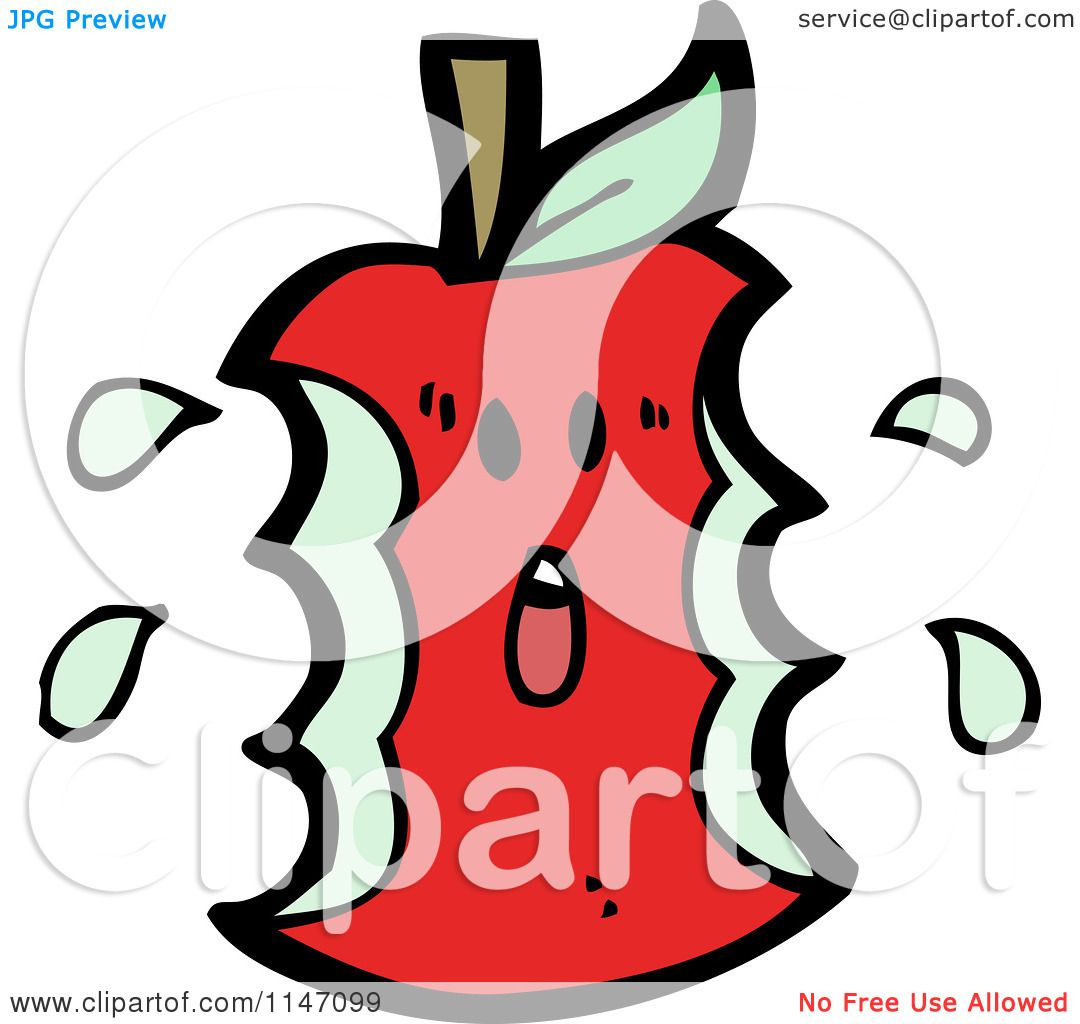 1080x1024 Cartoon Of A Scared Red Apple Core Mascot
