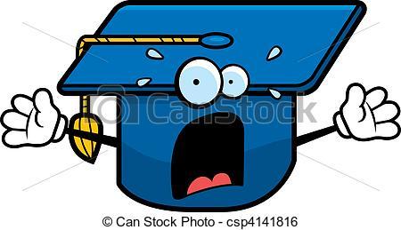 450x259 Scared Graduation Cap. A Cartoon Graduation Cap With A Clip Art