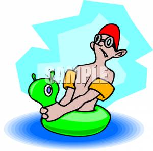 300x296 A Scared Boy With A Floaty Toy Clip Art Image