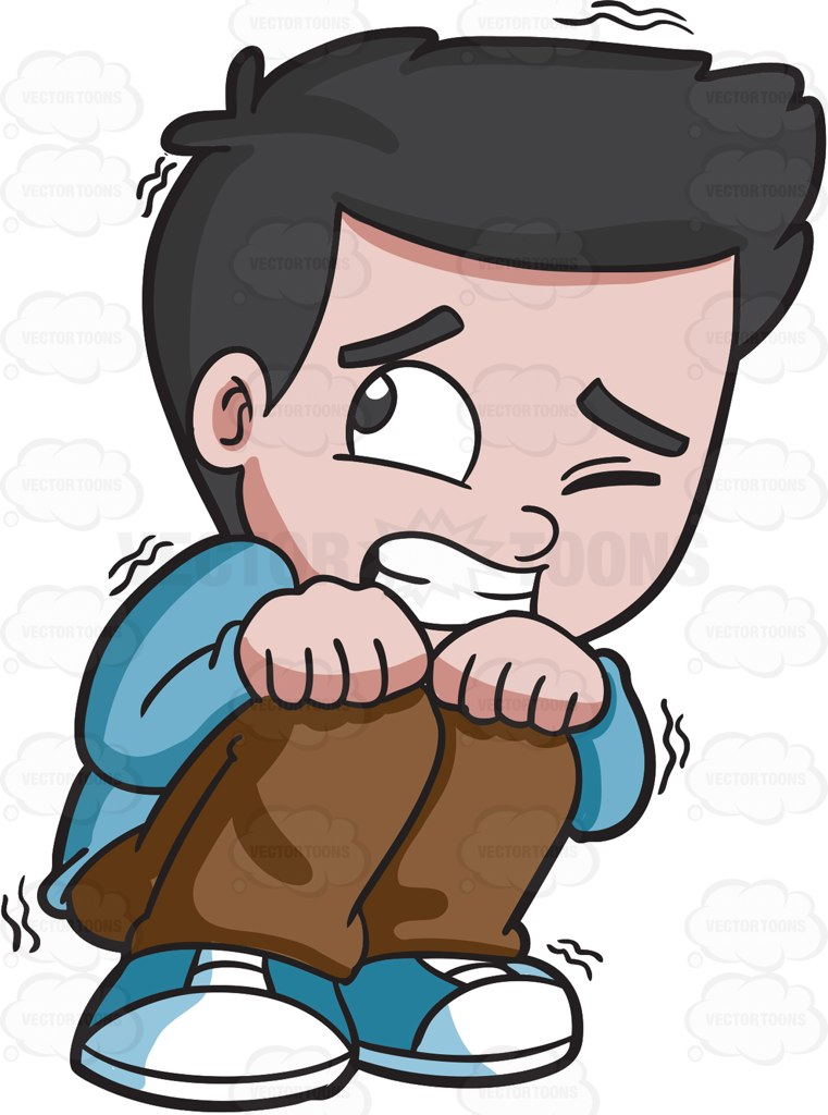 761x1024 A Scared Young Boy Cartoon Clipart Vector Toons