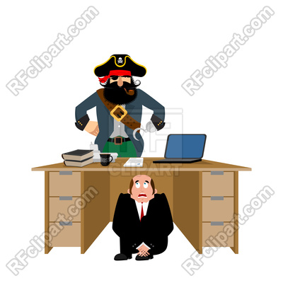 400x400 Businessman Scared Of Pirate Royalty Free Vector Clip Art Image