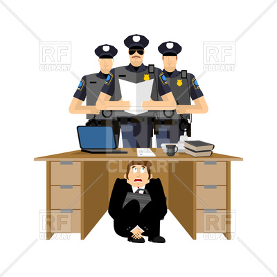 400x400 Businessman Scared Under Table Of Policemen Royalty Free Vector