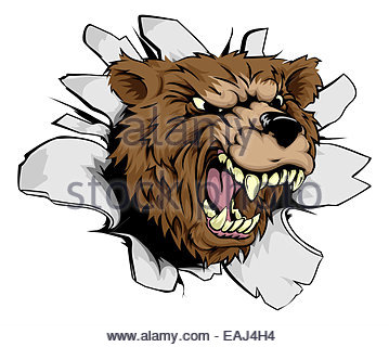 359x320 An Illustration Of A Bear Scary Sports Mascot With Claws Out Stock