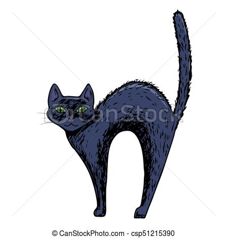 450x470 Halloween Cat Illustration. Black Cat, Scary Halloween Eps