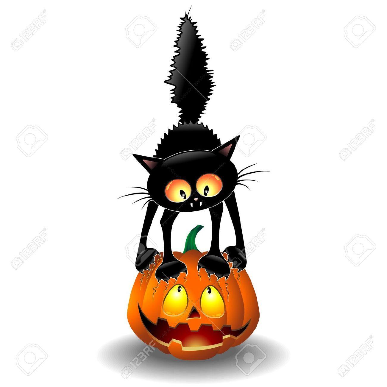 1300x1300 Scared Halloween Cat Cartoon Scratching A Pumpkin So Cute