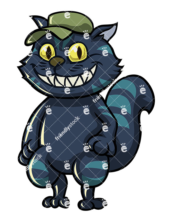 585x755 Scary Cat Halloween Costume With Big Teeth Vector Clipart