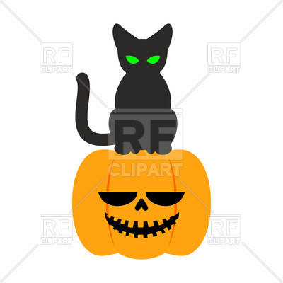 400x400 Scary Pumpkin And Black Cat Royalty Free Vector Clip Art Image